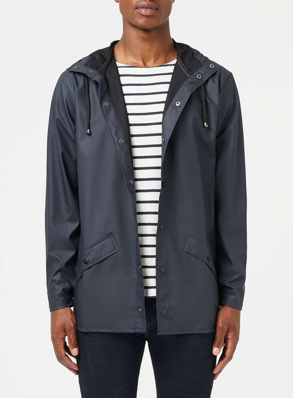 RAINS Navy Rain Jacket - Men's Coats & Jackets - Clothing - TOPMAN