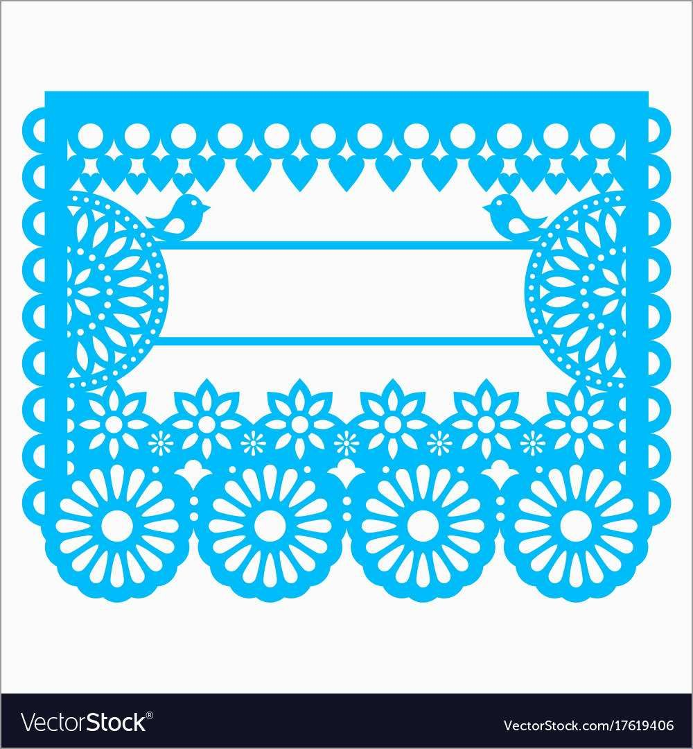 Free Printable Papel Picado Template Elegant Mexican Papel Picado Blank Text Template Design Vector Im Papel Picado Hacer Sobres De Papel Papel Picado Mexicano
