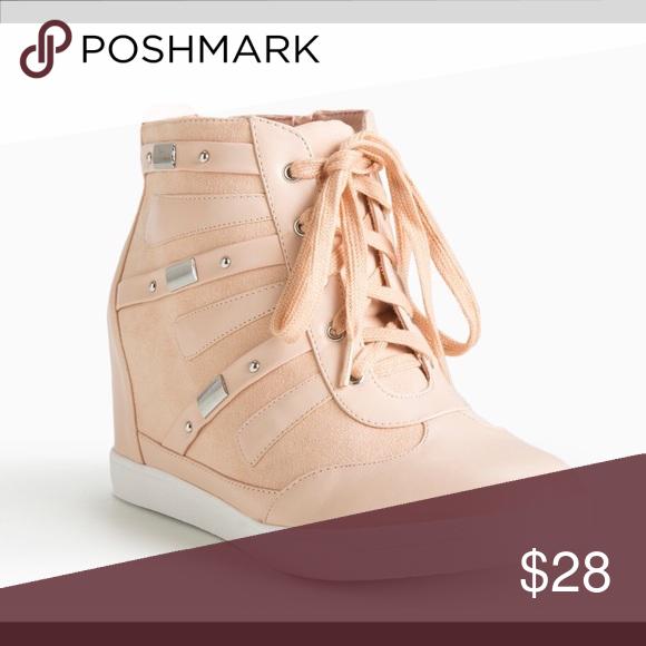 d80f3afbbca Torrid blush pink high top wedge sneakers Nwt torrid Shoes