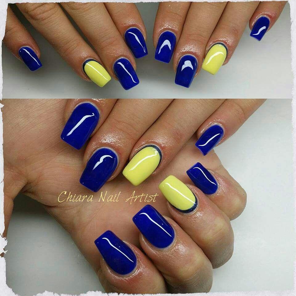 blu giallo Unghie Autunnali, Unghie Blu, Idee Per Le Unghie, Manicure, Tatoo