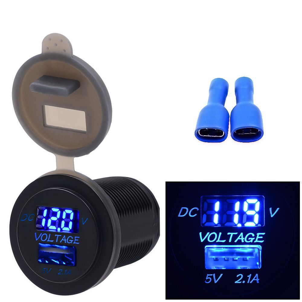 2in1 LED SUV Digital Voltage Meter Voltmeter USB Charger 12V//24V Blue Display