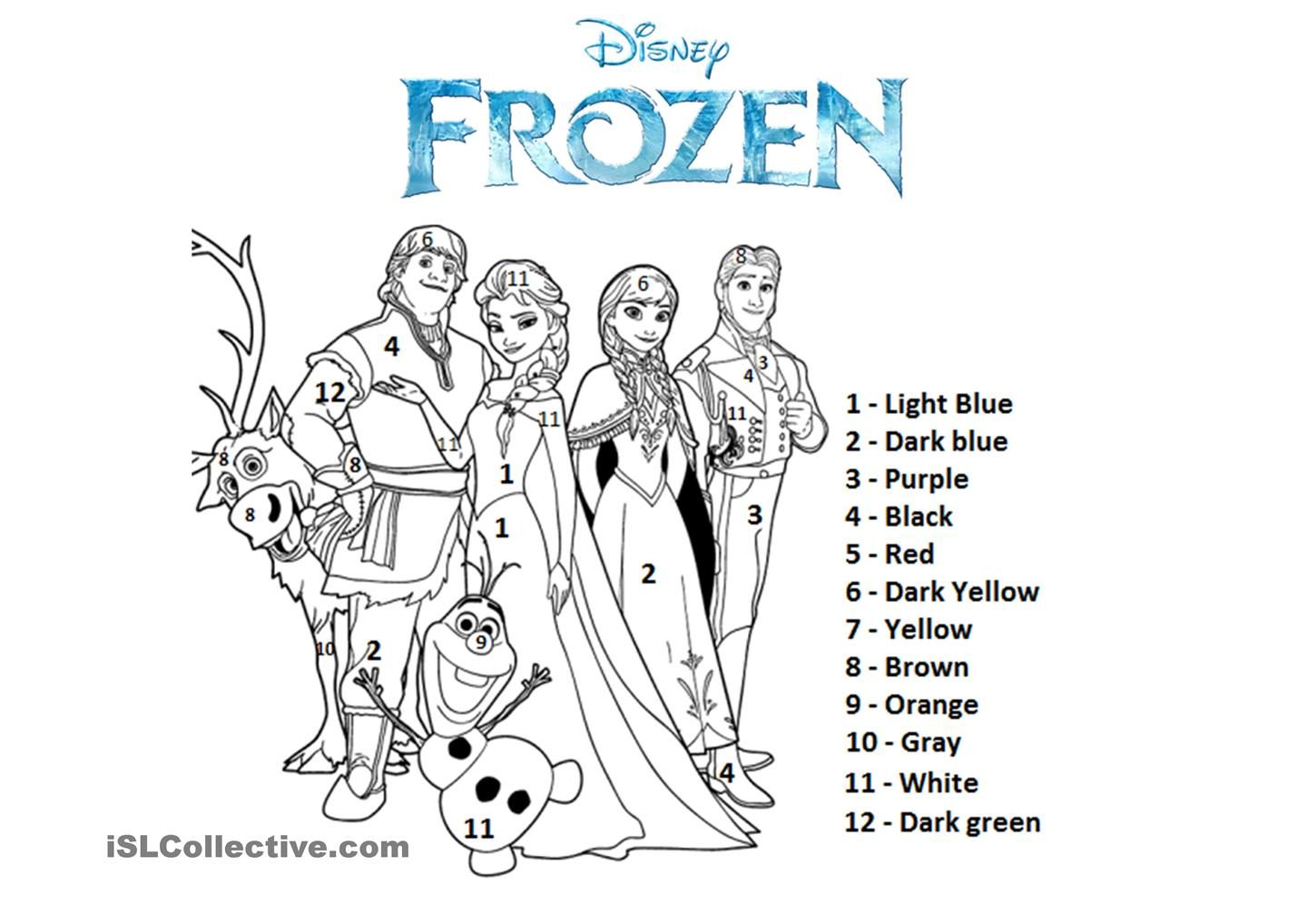 frozen coloring number pages - photo#17