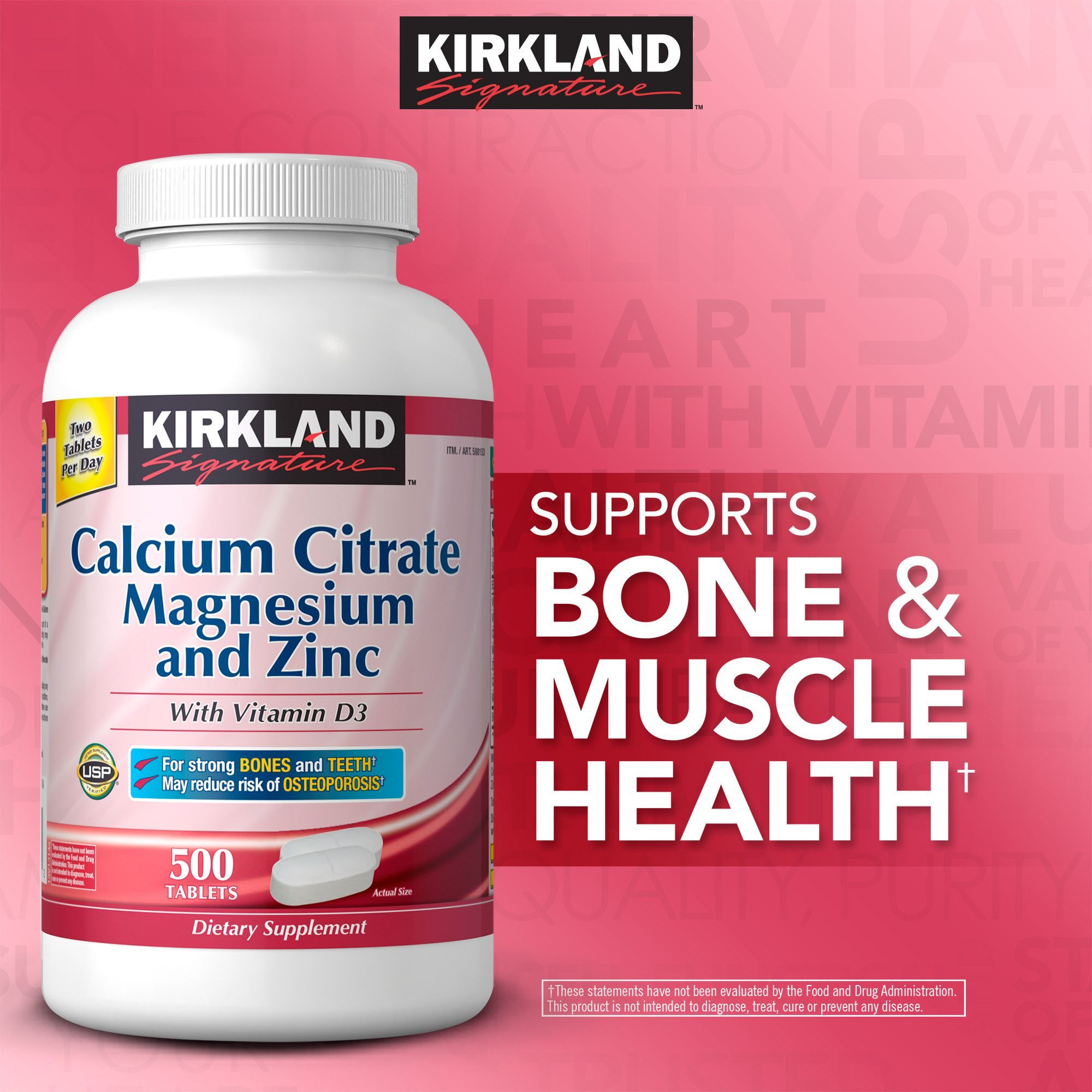 Kirkland Signature Calcium Citrate 500 Mg Tablets Products Wellness 120 Tablet