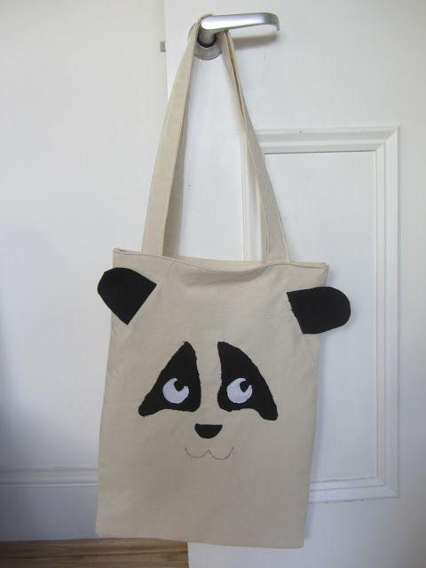 jellybean in the oven simple panda tote bag diy tutorial bags pinterest. Black Bedroom Furniture Sets. Home Design Ideas