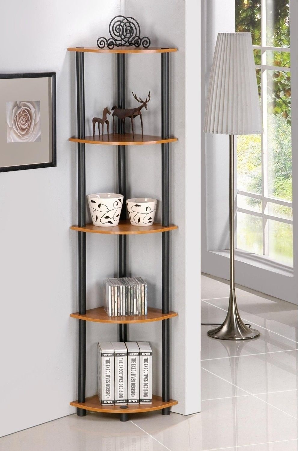 29 Pieces Of Furniture From Amazon That People Actually Love Corner Shelves Living Room Living Room Shelves Corner Shelf Design