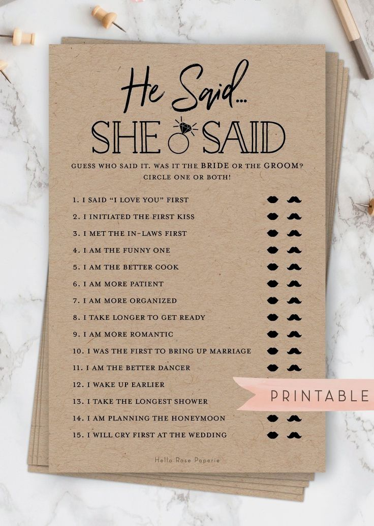 He Said She Said . Printable Bridal Shower Fun Icebreaker Game . Rustic Kraft and White . Wedding Sh