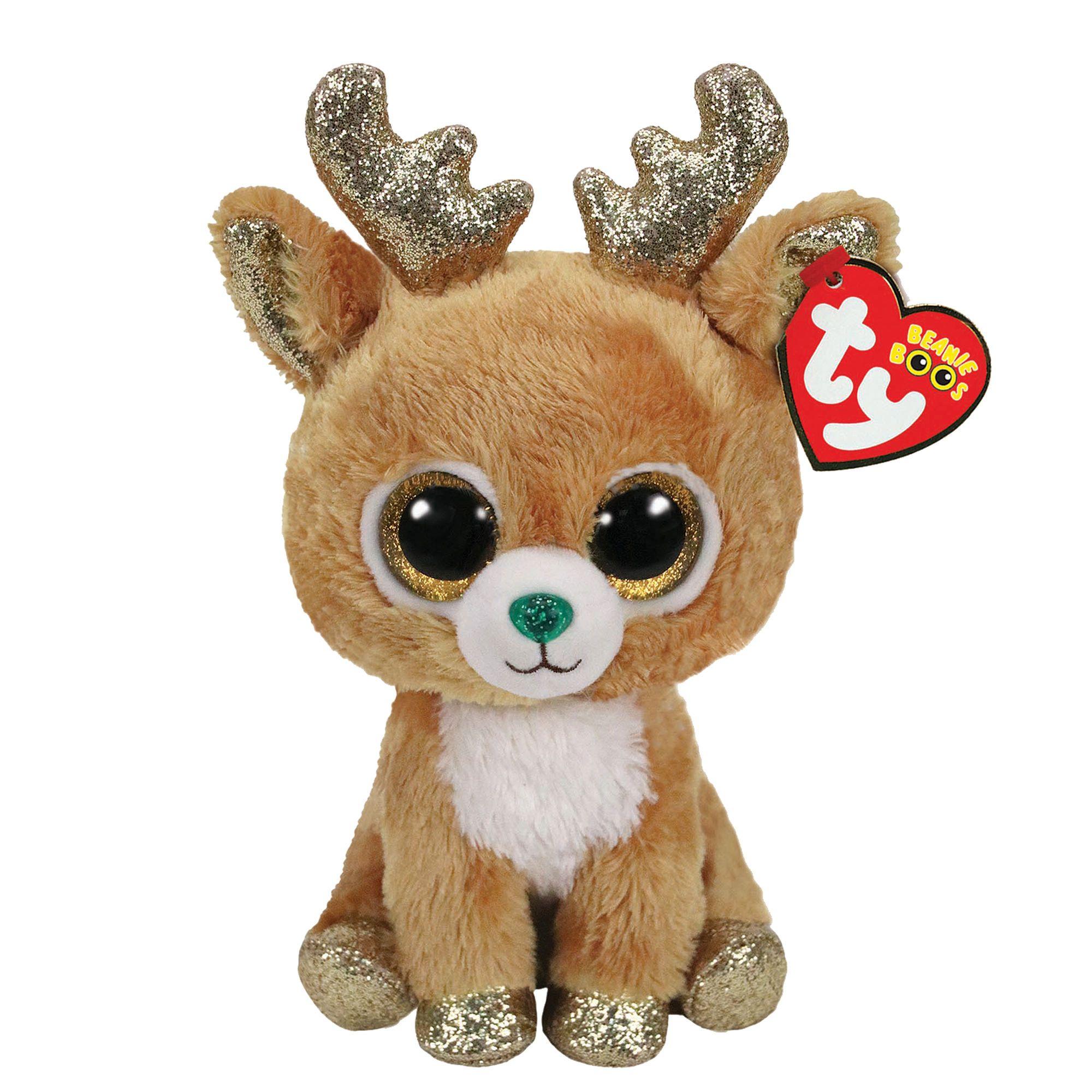 d25cb5b34eb Ty Beanie Boo Medium Glitzy the Reindeer Plush Toy