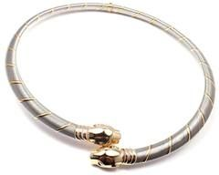 58cce27a455b8 CARTIER PANTHER PANTHERE 18K GOLD & STAINLESS STEEL NECKLACE ...