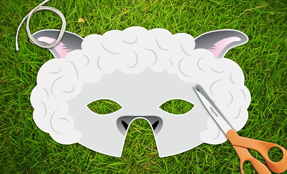 White Lamb Sheep Printable Party Mask Easter Pdf | Lamb | Pinterest ...