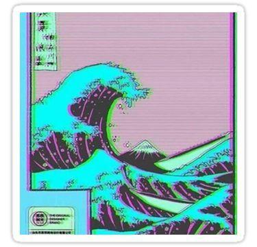 The Great Wave off Vaporwave Kanagawa Sticker