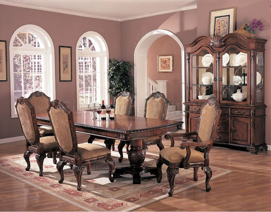 Nice Elegant Formal Dining Room Furniture | Antique Brown Elegant Dining Room  Extendible Table