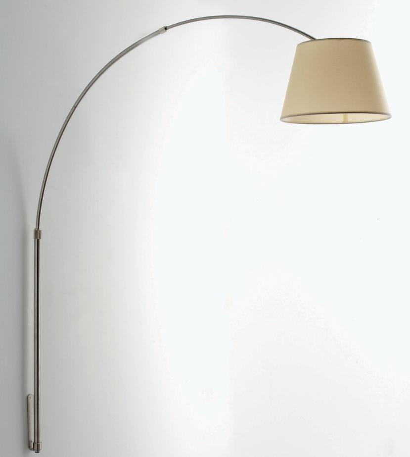 BOING LAMPADA DA PARETE AD ARCO IN METALLO NICHEL SPAZZOLATO ...