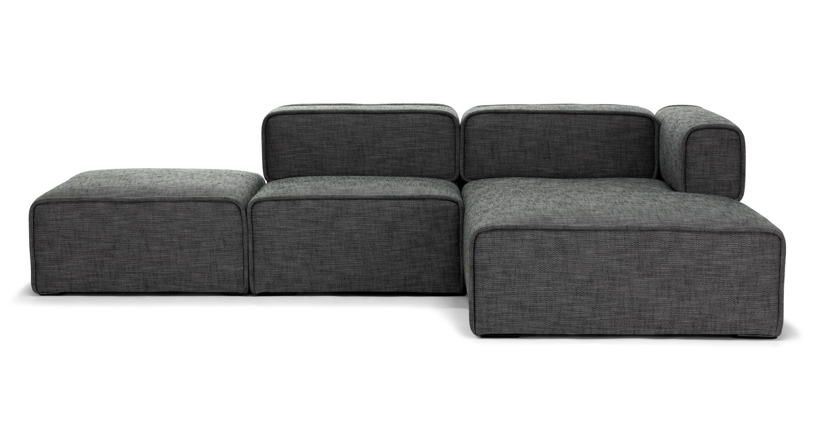 Gray Modular Right Sectional Upholstered
