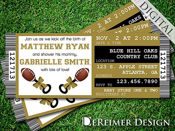 Sports ticket baby boy shower invitation saints new orleans sports ticket baby boy shower invitation saints new orleans football gold and black filmwisefo Image collections