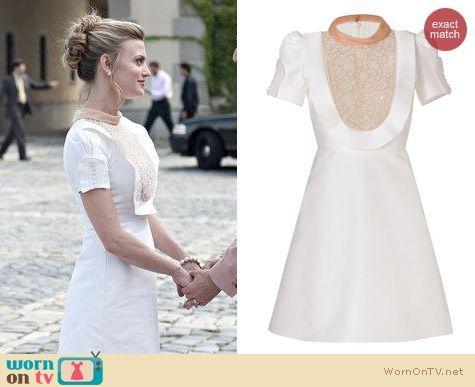 Paige's white bib ruffle dress on Royal Pains.  Outfit Details: http://wornontv.net/18081/ #RoyalPains