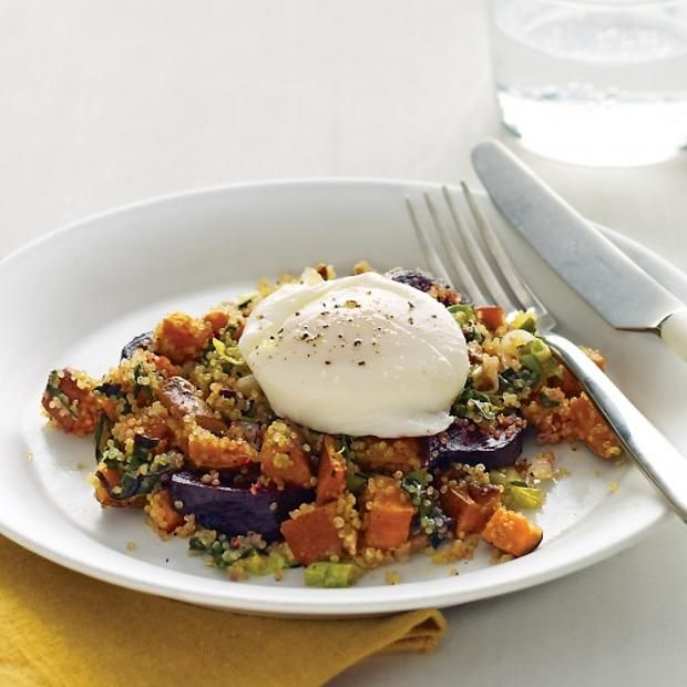 Fall-Vegetable And Quinoa Hash With Poached Eggs