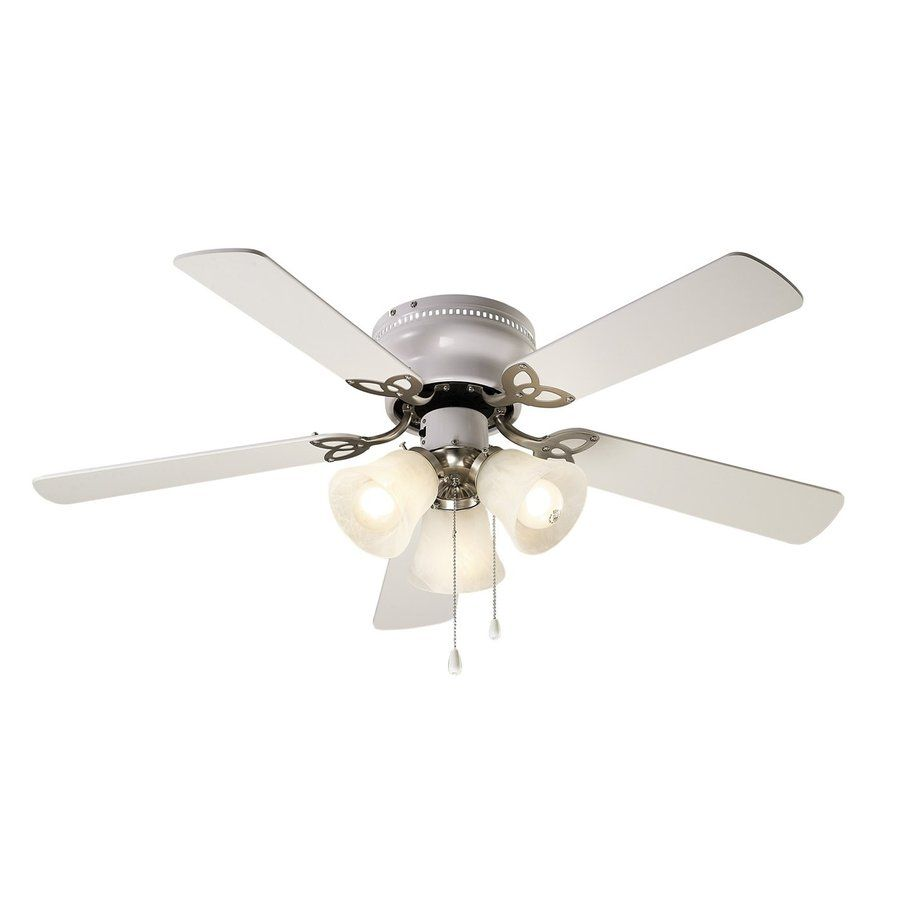 Canarm Maria 42 In Brushed Nickel Indoor Flush Mount Ceiling Fan With Light Kit 5 Blade Lowes Com Ceiling Fan With Light Fan Light Ceiling Fan