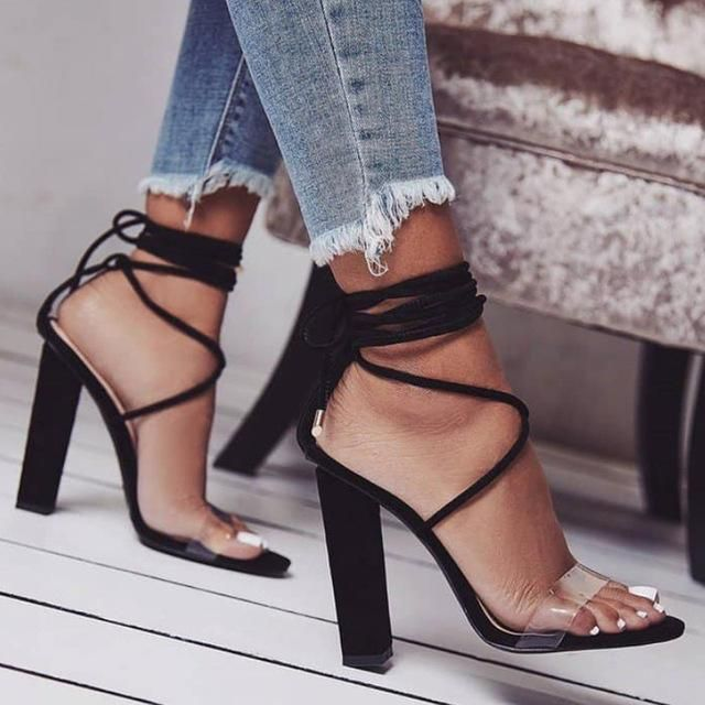 ace54e9fc5e6 Ankle Strap Square Heel Lace-up Women Sandals