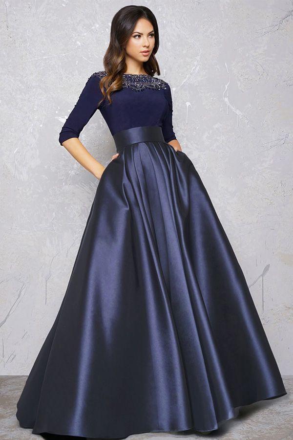 [124.59] Wunderschöne Spandex & Satin Bateau Ausschnitt 3/4 Länge Ärmel A-Linie Abendkleid mit Perlen & Taschen   – Fashion