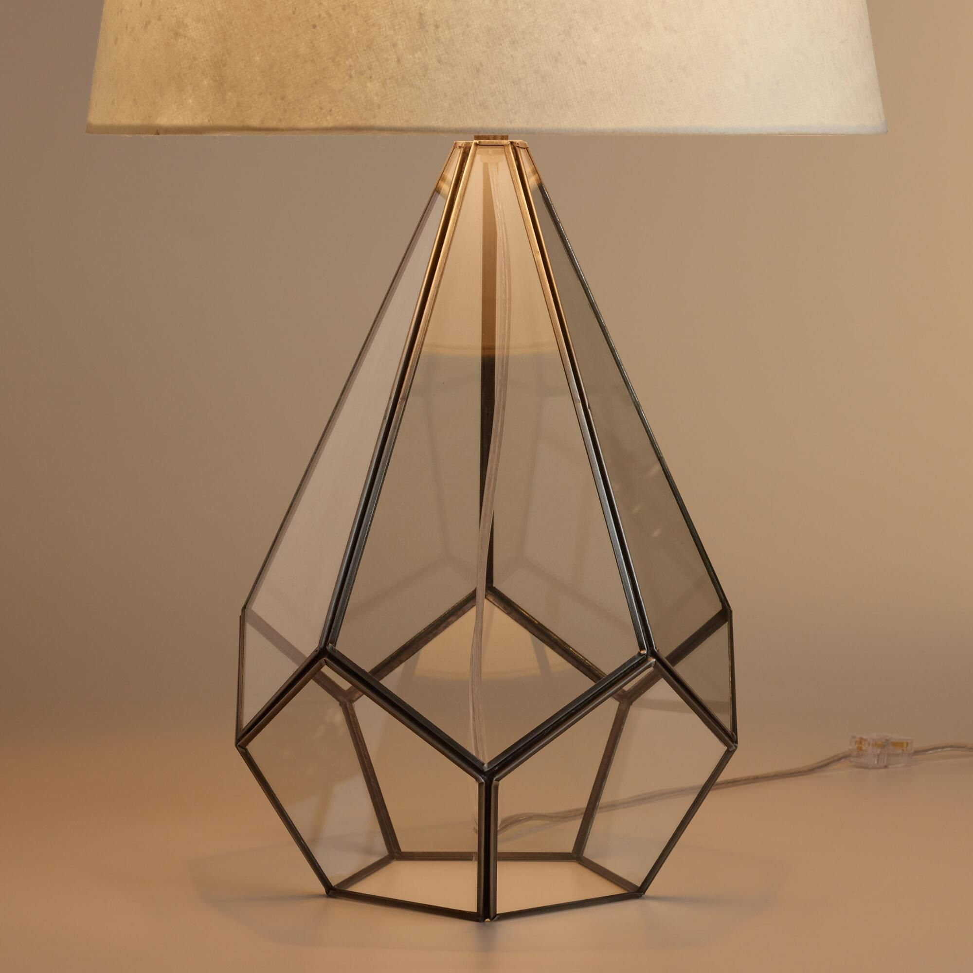 Intricately crafted of precision-cut glass fitted to an antique ... for Diy Geometric Lamp  181pct