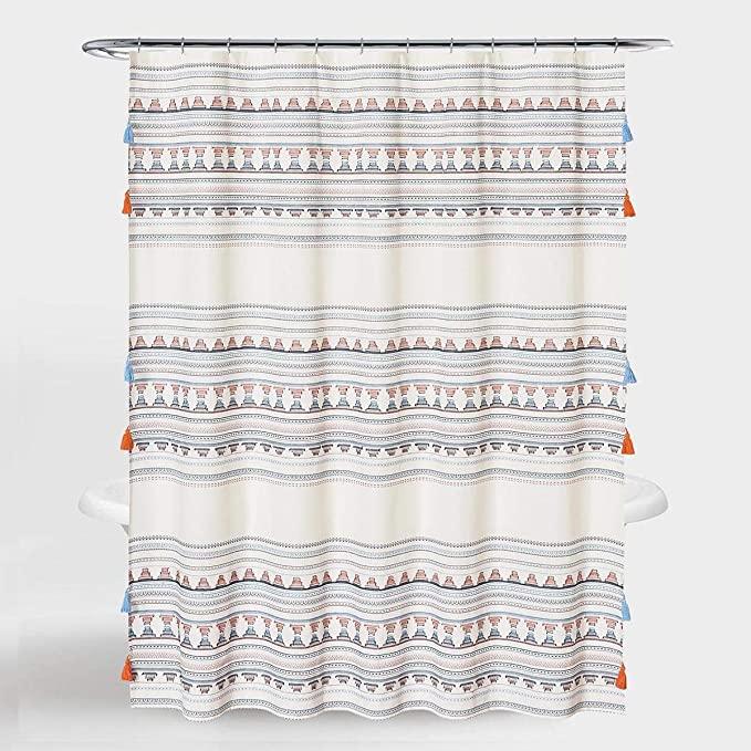 rybender boho tassel shower curtain
