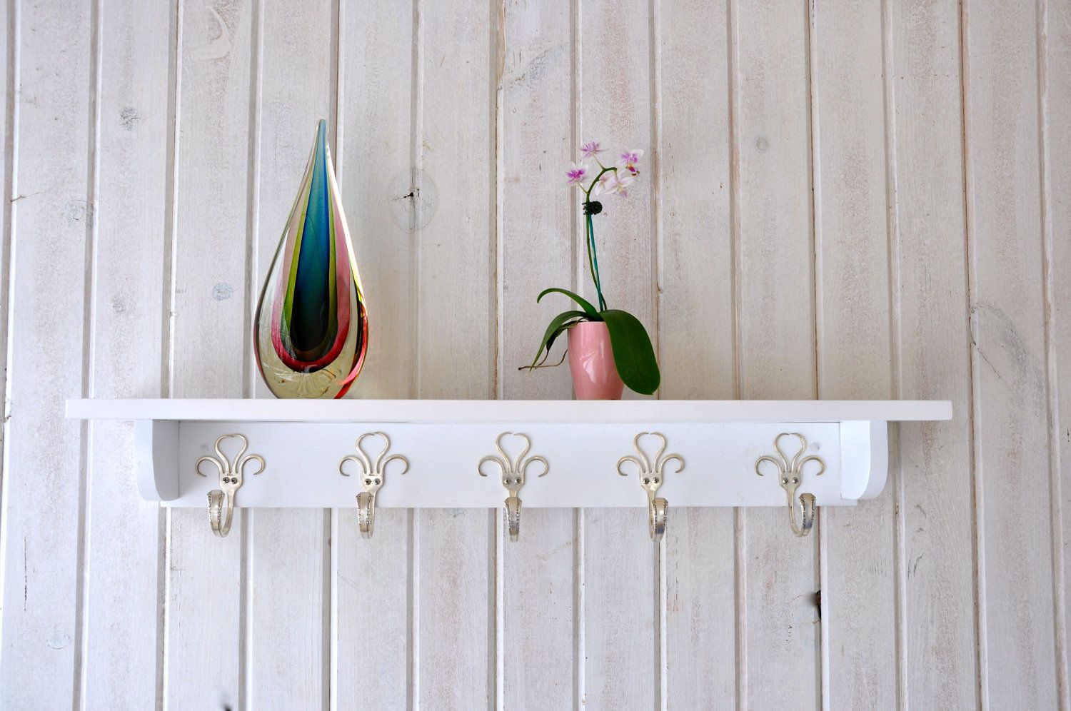 32 Inch Shelf W Five 003 Style Fork Hooks Vintage Recycled Silverware Recycled Silverware Wood Rack Painted Bookshelves