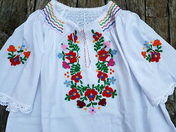 a22c580c4046c6 Hungarian Handembroidered Blouse Floral handembroidered XL Hungarian  Embroidery, Floral Blouse, Floral Tops, Peasant