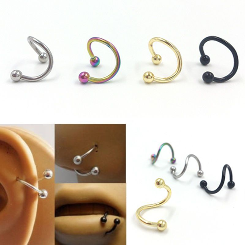 Pretty 4*Stainless Steel Twist Nose Lip Eyebrow Cartilage Ring EarriPF