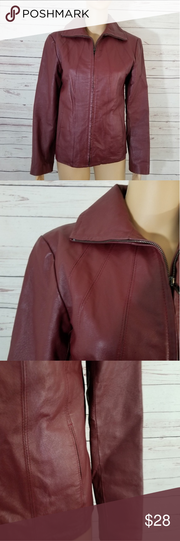 East 5th leather Jacket Size Small Burgundy (With images