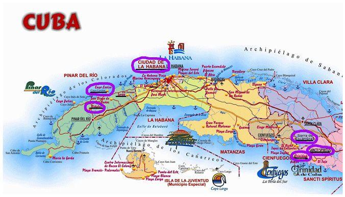 Karte Kuba Varadero.Map Of Cuba Indicating The Highlights Of The Walking Holiday In Cuba