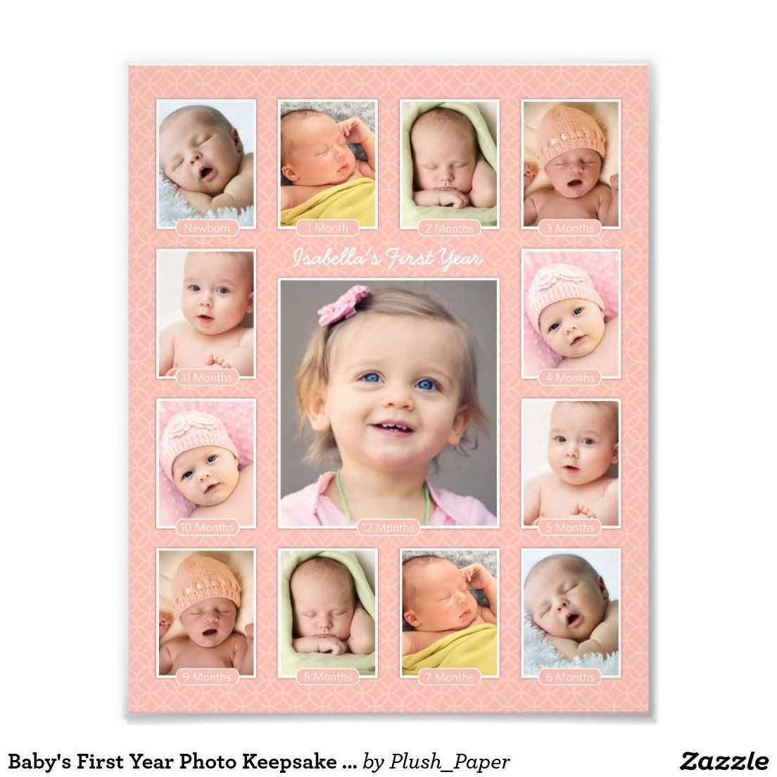 Baby S First Year Blush Photo Keepsake Collage Zazzle Com Baby Collage Baby Photo Collages Babies First Year