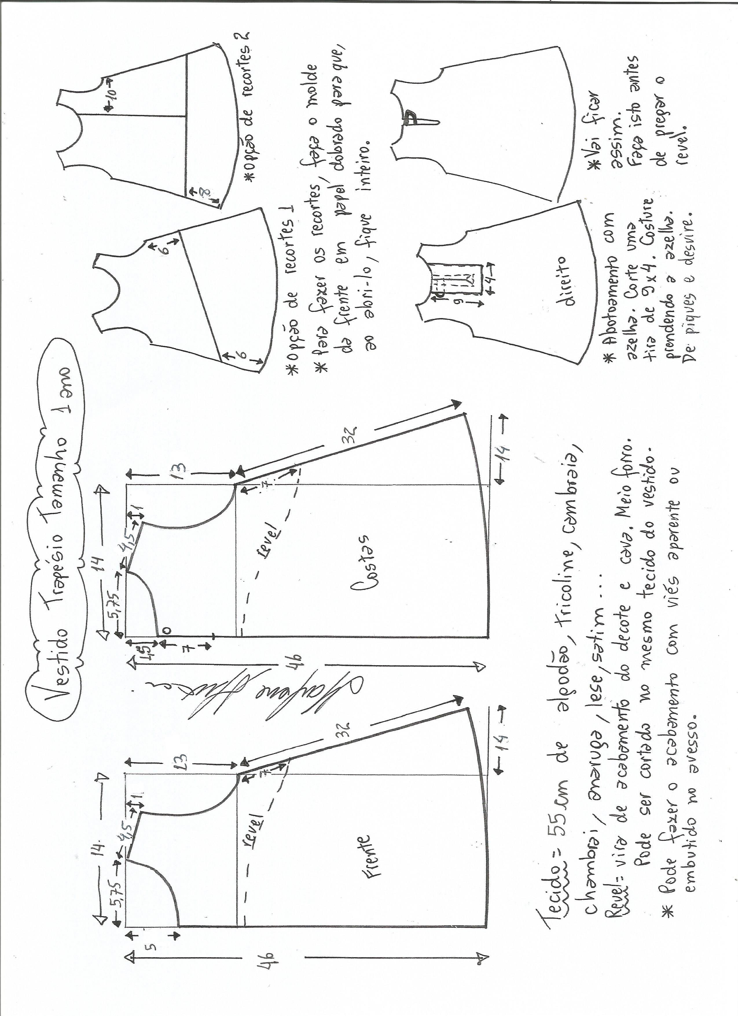 Molde vestido evasé 1 ano | Patrones | Pinterest | Molde, Costura y ...