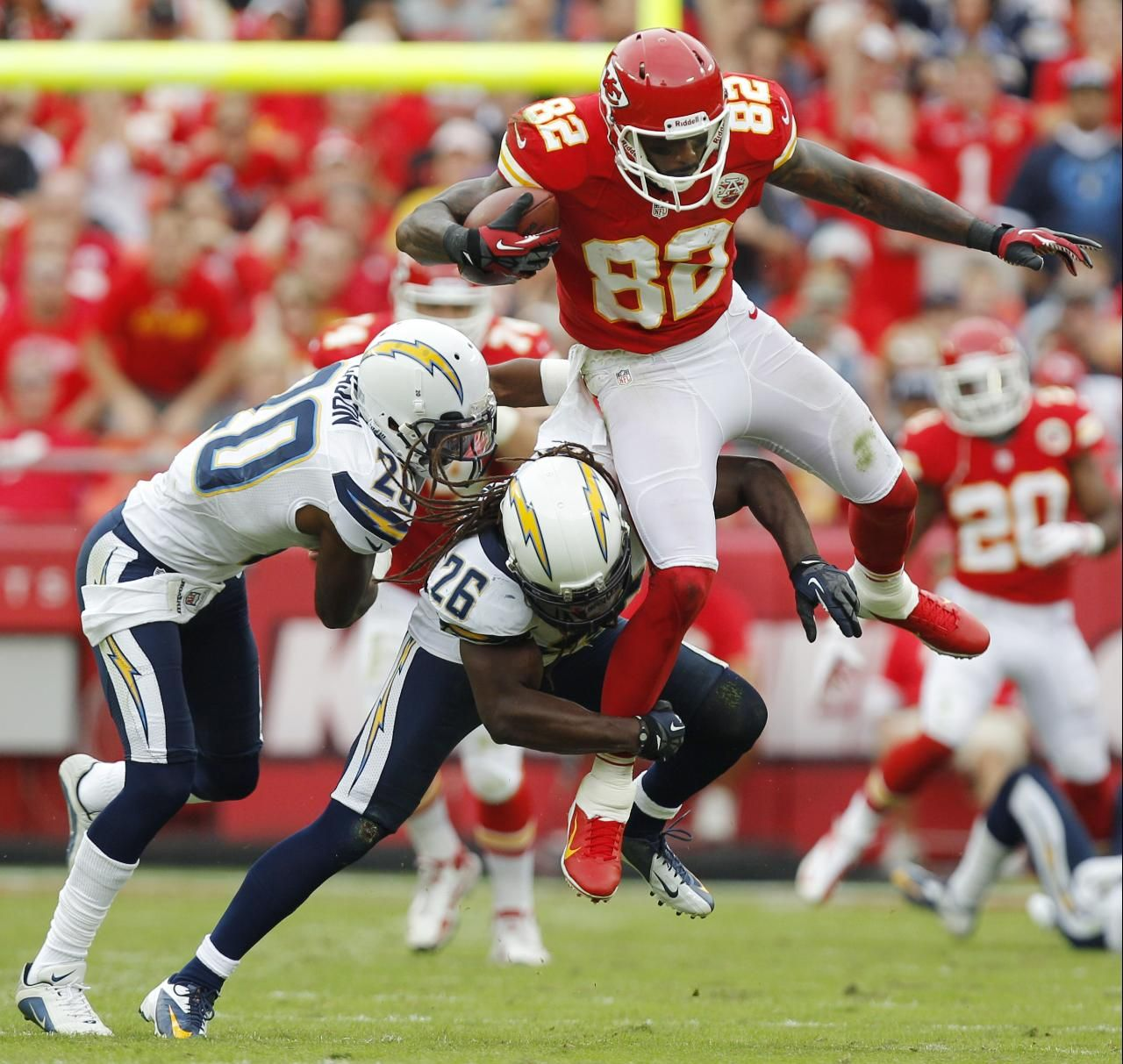 San Diego Chargers Chiefs: Kansas City Chiefs Wide Receiver Dwayne Bowe Is Tackled By