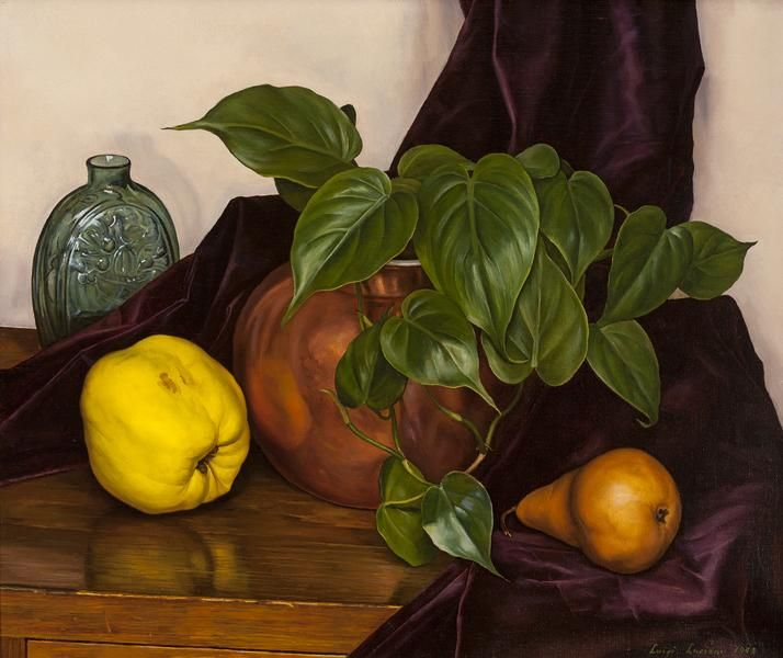 """Still Life,"" Luigi Lucioni, 1948, oil on canvas, 15 ¼ x 18 ¼"", Gerald Peters Gallery."