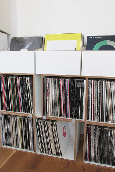 LP-Boxen zur Schallplatten Aufbewahrung in Weiß Wohnzimmer - aufbewahrung regalsysteme holz