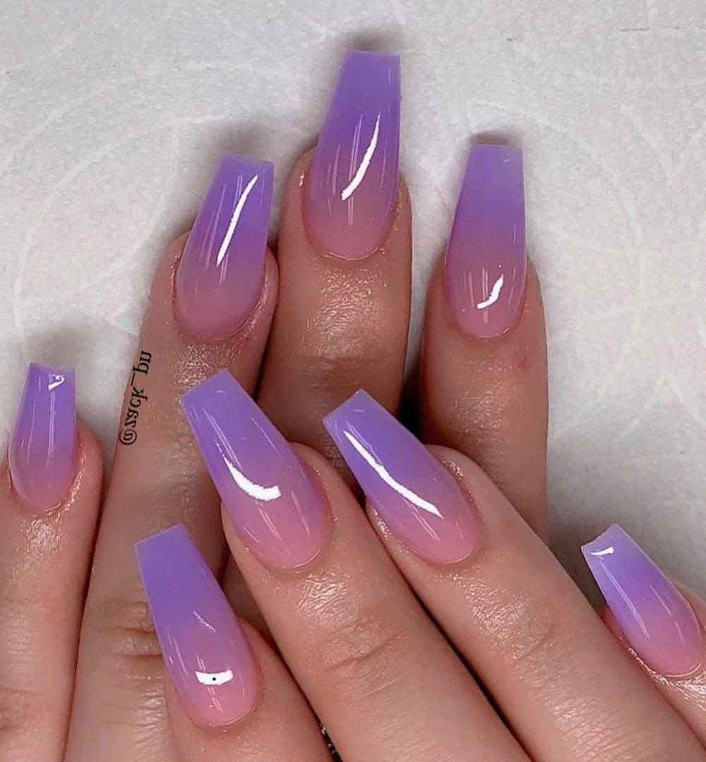 46 Stylish Gel Nail Art Designs Ideas For This Year Purple Ombre Nails Purple Gel Nails Purple Fade Nails