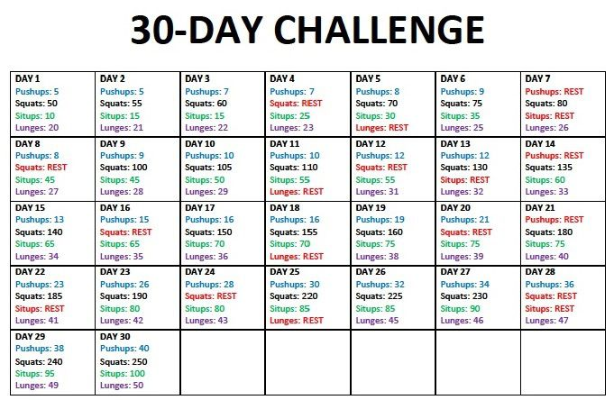 30 Day Body Challenge Fitness 30 Day Fitness 30 Day Workout