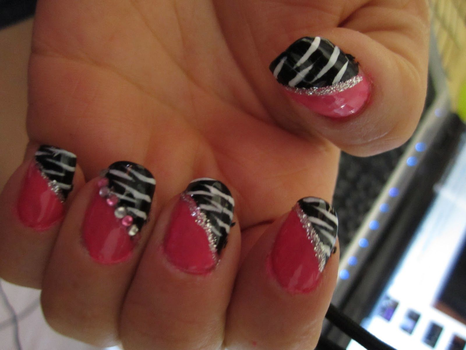 nail designs | Pink and Black Zebra nail design / Blue rhinestones ...