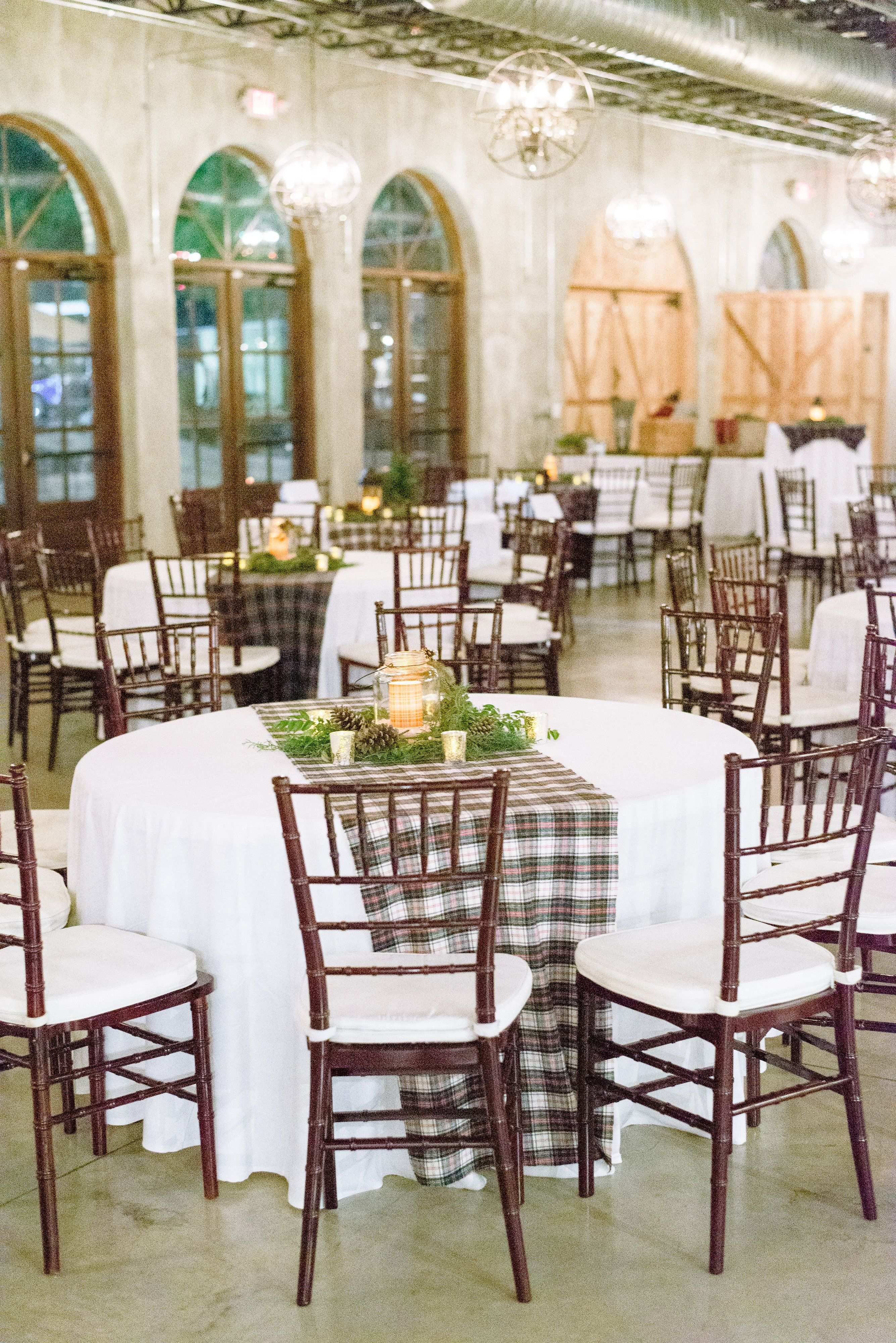 Reception Set Up Decor Plaid Table Runners Winter Wedding Holiday