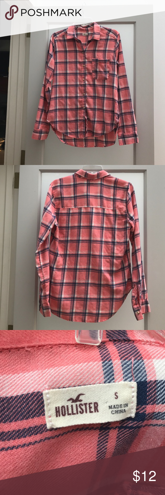 Hollister flannel button up Cozy and bright, Hollister flannel. Used, but in excellent condition... only when a few times. It was my daughter's, and just doesn't fit any more! Hollister Tops Button Down Shirts