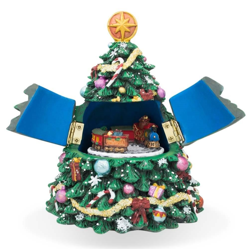 Tabletop Christmas Tree Music Box With Rotating Train Figurine 5 Inches Christmas Tree Music Box Tabletop Christmas Tree Christmas Tree Sale