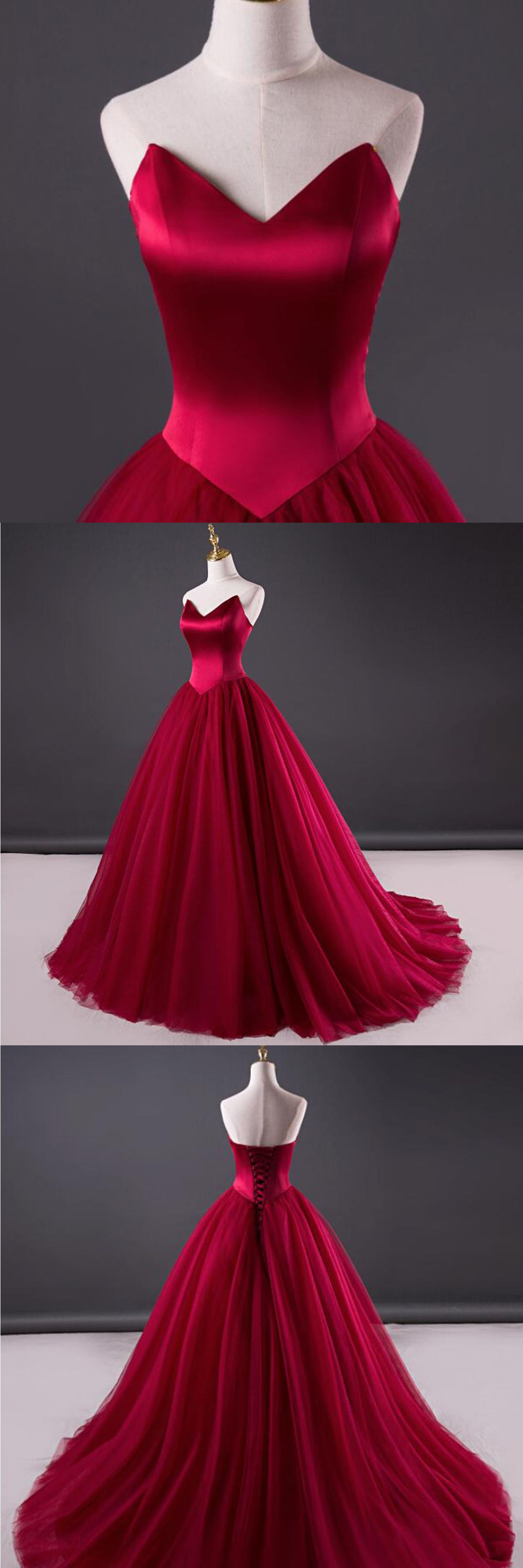 Burgundy tulle strapless sweetheart neckline long evening dress