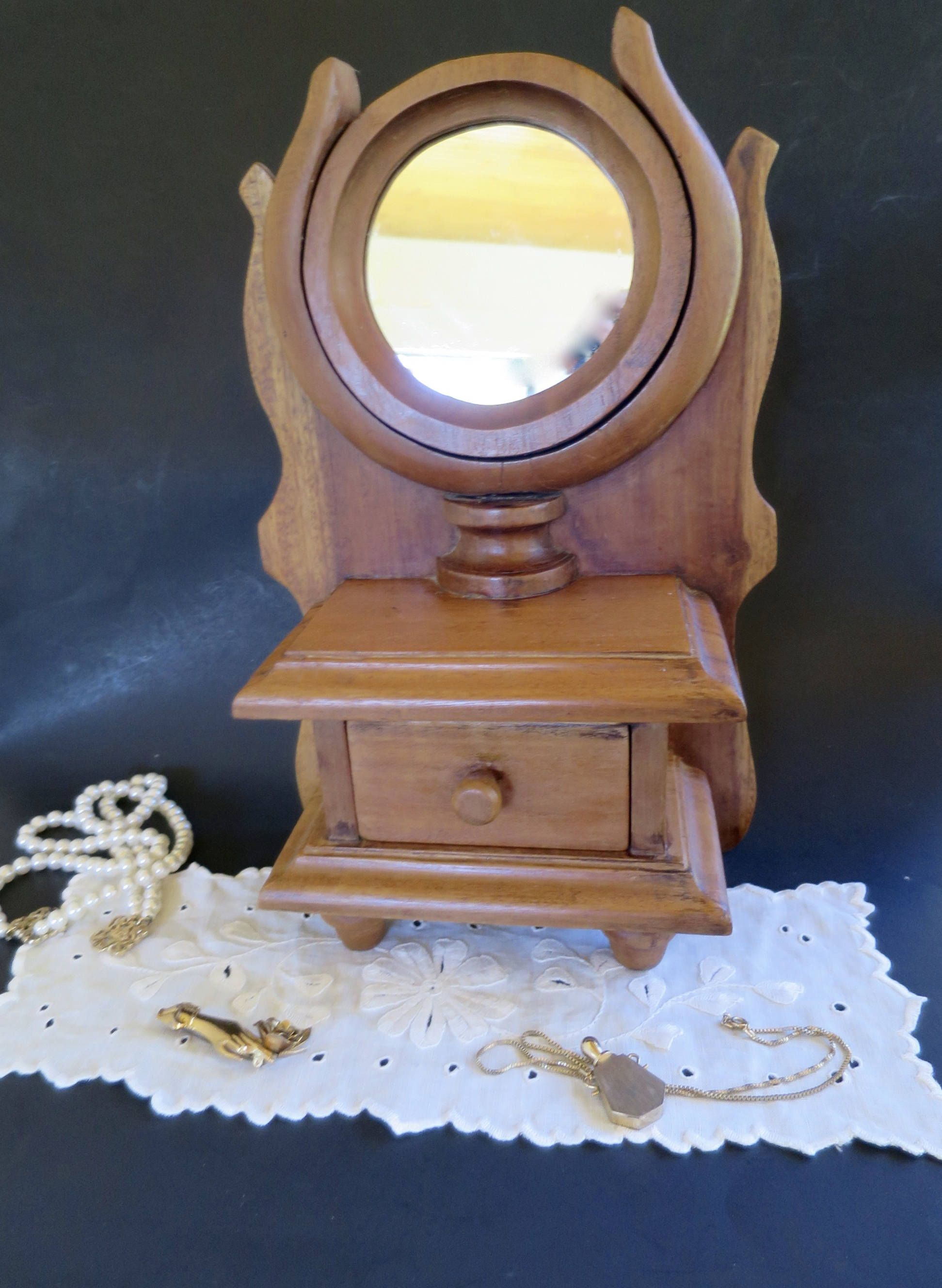 Wood Vanity Mirror W Drawer Box Tilt Mirror Wood Back Vanity
