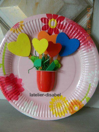 cadre avec assiette de carton,vase de fleurs ,activité de