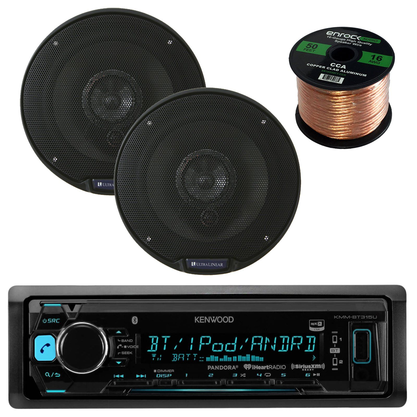 medium resolution of kenwood kmmbt315u single din bluetooth in dash car stereo receiver bundle combo with set of 2 linear ul651 200w 6 5 inch 3 way coaxial car audio speakers