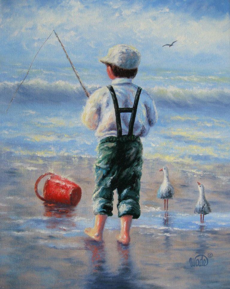 Beach Boy Oil Painting Boy At Beach Painting Boy Fishing Boys