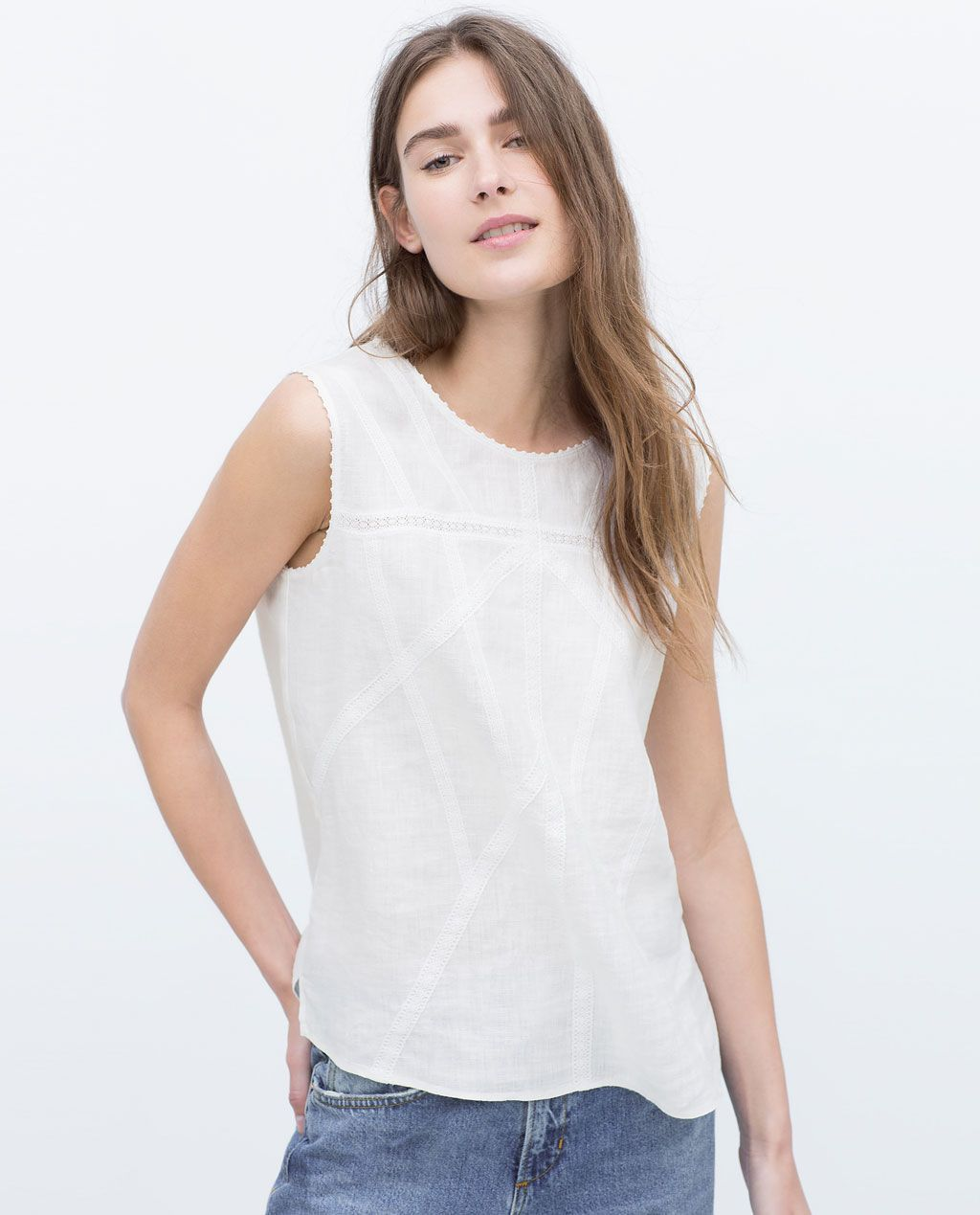 LAST!/_ZARA SS18 LINEN DRESS WITH BELT V-NECK A-LINE OFF-WHITE  4437//072 /_XS-XL