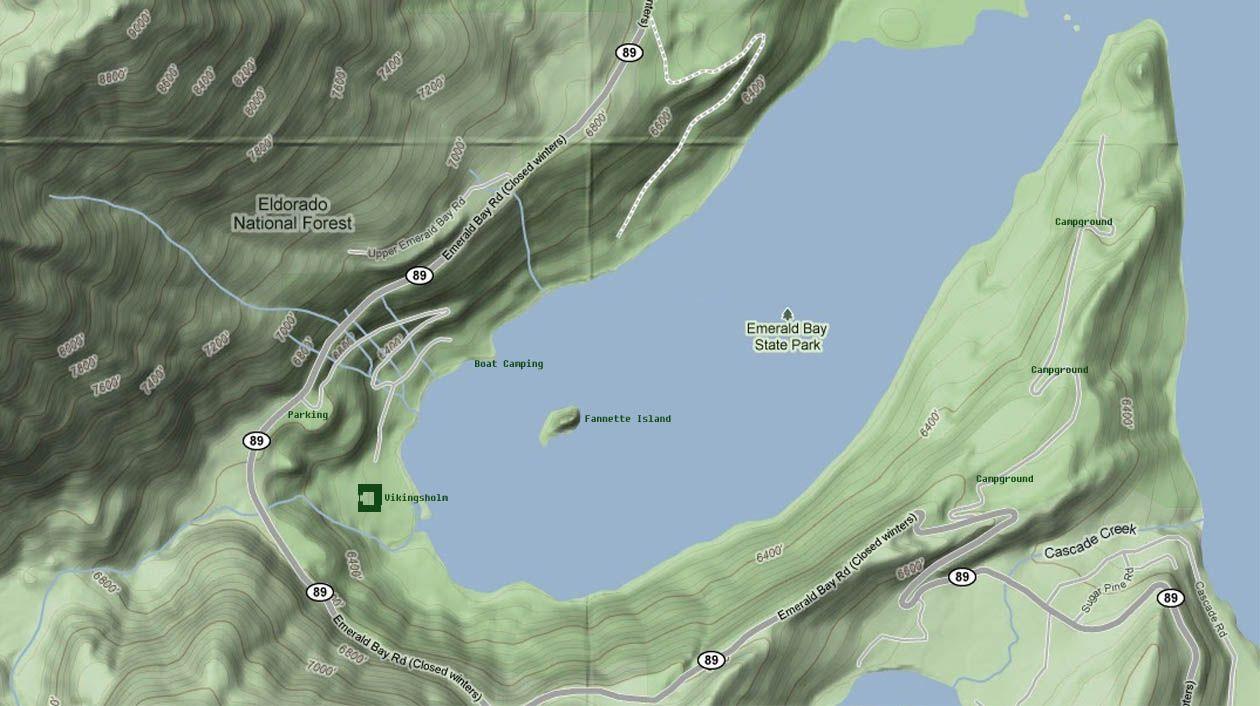 Google terrain map of Emerald Bay Lake Tahoe Lake Tahoe