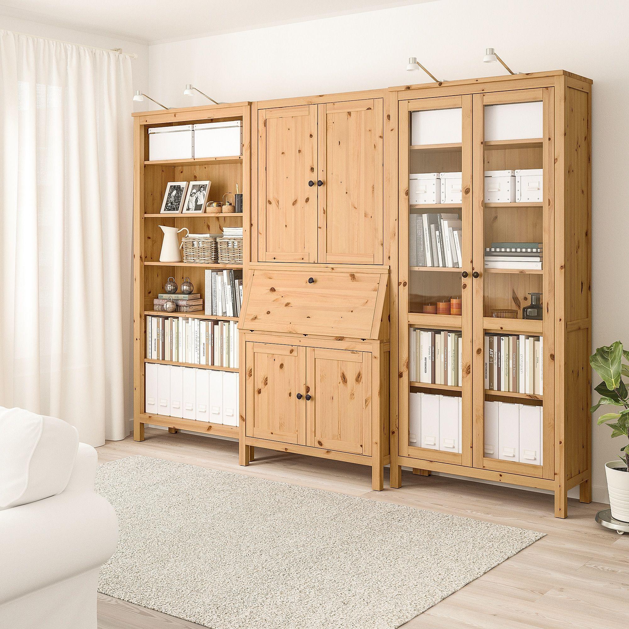 HEMNES Sekretär mit Aufsatz und Regal - hellbraun/Glas - IKEA