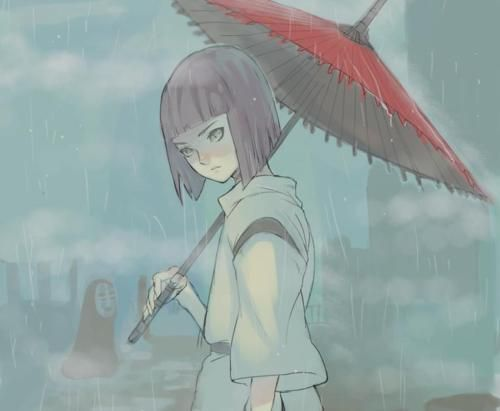 Haku in the rain.